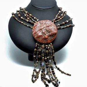 Jewelry - Statement Necklace Boho Coral Shell Glass Pearl